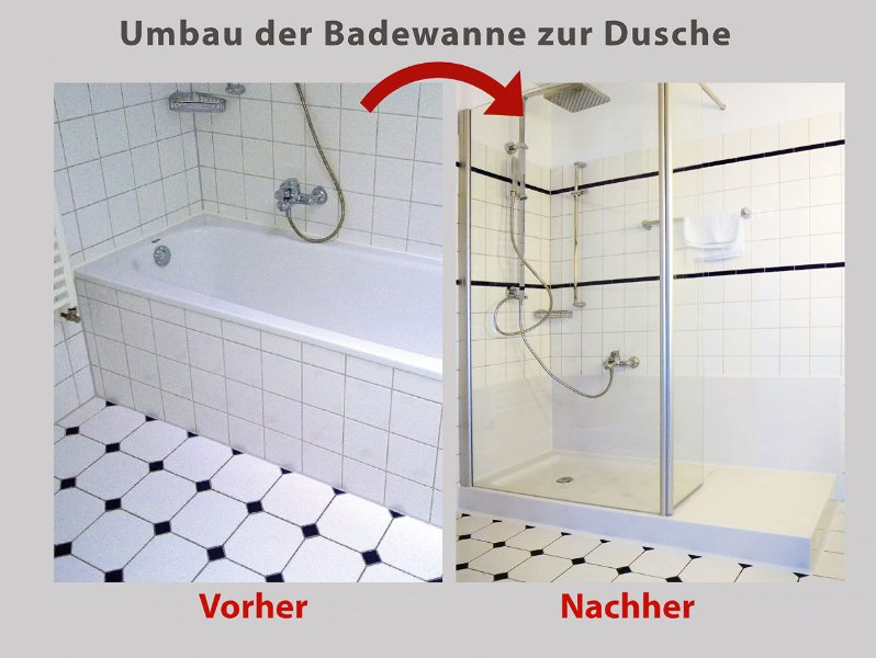 wanne zur dusche die barrierefreie dusche in 8 std. Black Bedroom Furniture Sets. Home Design Ideas